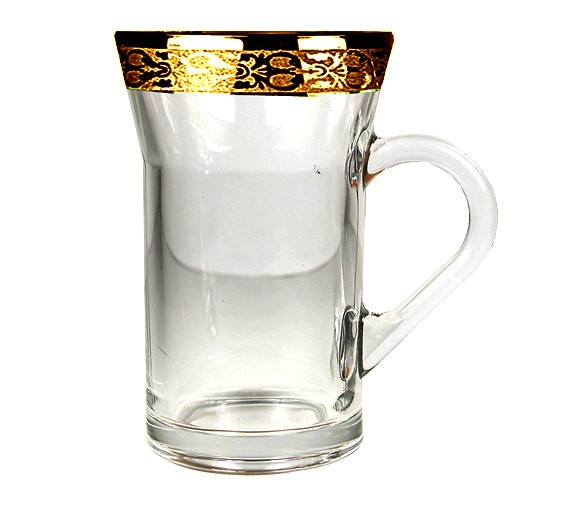 Gold Rim PersianTea GlassesCoffee Mugs Set of 6 Floral Gold Rim