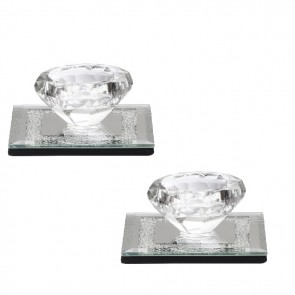 Crystal Candle Holder Set of 2 | Crystal candle sticks | Small candle holder