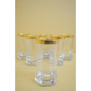 gold greek key print rim tall tumbler glasses made in italy