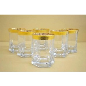 Marigold Houseware Versace Tumbler Glasses Set of 6 Gold