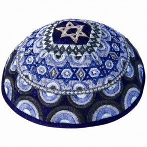 Yair Emanuel Embroidered Silk Kippah - Stars of David - Blue Made in Israel Kippah Blue Kippot  Los Angeles, CA