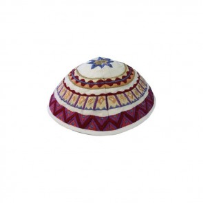 Yair Emanuel Geometrical Stars Embroidered Silk Kippah | White Magenta | Made in Israel Kippah |  Los Angeles, CA