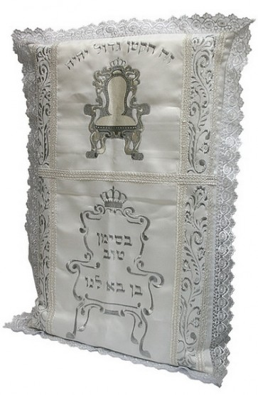Bris Pillow with Embroidered Bris Chair and Hebrew Text   Brit MIlah Pillow Los Angeles