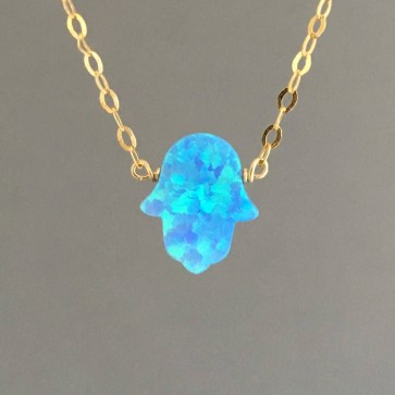 Blue Opal Hamsa Necklace with Gold Chain