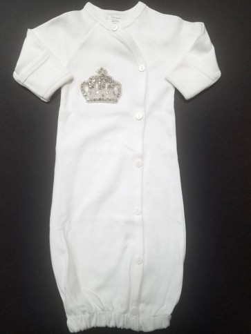Brit Milah Button Down Gown with Silver Crown