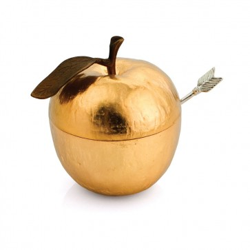 Shop Michael Aram Apple Honey Pot with Spoon, Gold