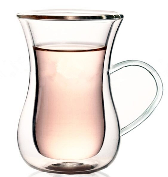 Double Walled Tea/Coffee Glass with Handle, Set of 6
