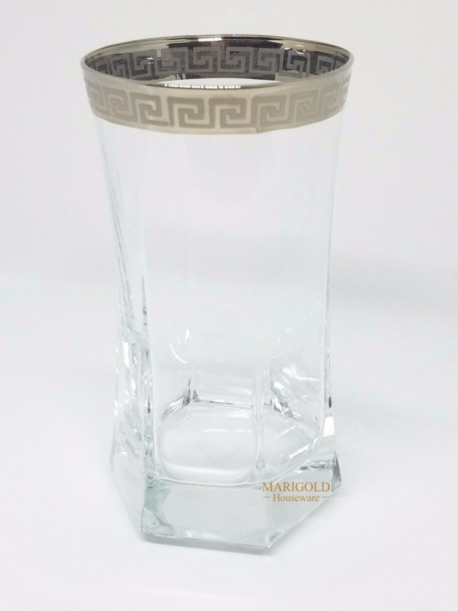 Shop Silver Rim Greek Key Tall Water Glasses Set Of 6