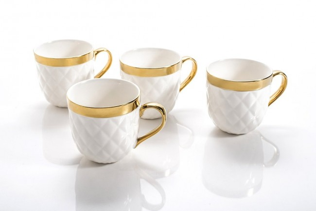 Yedi Quilted Collection Gold Mugs Set of 4 | Shop gifts gold dessert ...