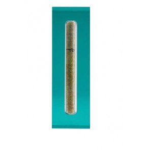 Acrylic Mezuzah Case, Medium, Turquoise