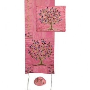 Embroidered Raw Silk Tallit Tree of Life Pink