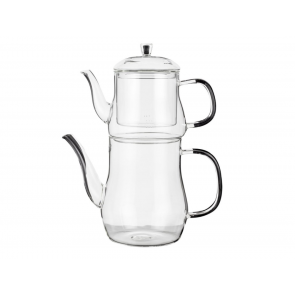 Double Borosilicate Glass Teapot Set, with Infuser
