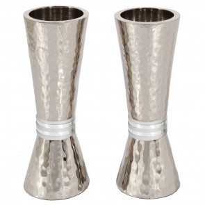 Emanuel Hammered Candlesticks with silver rings
