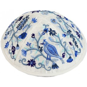 Embroidered Kippah Bird-Flowers, Blue