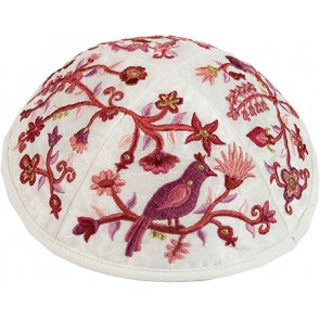 Embroidered Kippah Bird-Flowers, Pink