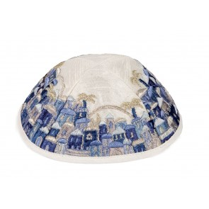 Emanuel Embroidered Kippah Jerusalem with Blue