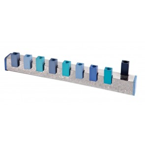 Hammered Squares Hannukah Menorah, Blue