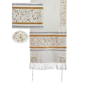 Embroidered Cotton Tallit Prayer Shawl Set, Matriarchs Gold & Silver