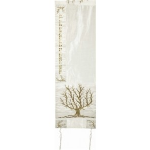 Raw Silk Embroidered Tallit Tree of Life Gold/White