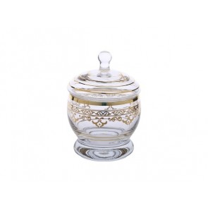 Glass Jar with Gold Design