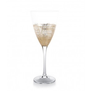 Crosshatch Gold Wine Glasses, Set of 4