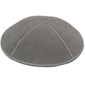 Grey Suede Kippah With Rim