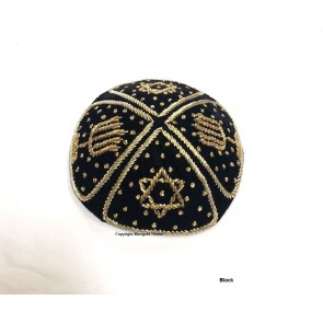 Grooms Kippah Black with Gold Stitching Marigold House Los Angeles