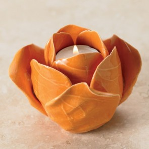 Rosebud T-Light Holders- Orange