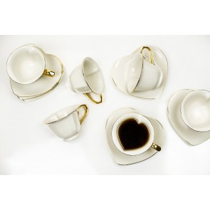 Inside Out Heart Tea Cup & Saucer Set of 6 -Cream White with Gold Rim | Classic Coffee & Tea | Yedi Houseware