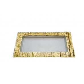 Glass Tray with Embossed Gold Edge