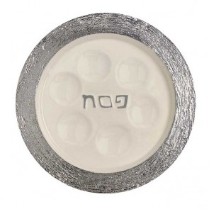 Brushed Passover Seder Plate with enamel