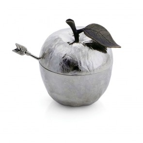 Shop Michael Aram Apple Honey Pot with Spoon, Silver