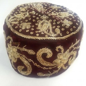 Grooms Moroccan Style Kippah, Burgundy with Gold Stitching