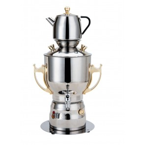 Persian Electric 6 Ltr Samovar-Stainless Steel, Gold Finish