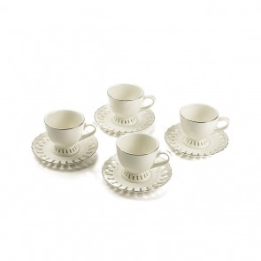 Nicolette Collection Espresso Cup and Saucer Set for 4