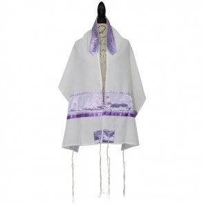 Ronit Gur Women Tallit Set Lavender with Kippah and Bag Tallis Viscose