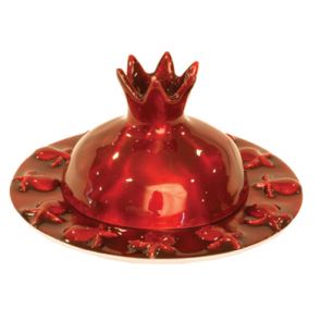 Rosh Hashanah Red Pomegranate Honey Dish -Large