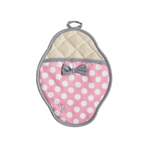Rosy Pink Polka Dot Scalloped Pot Mitt -Pink Pot Mitt-Hostess Aprons Accessories-Los Angeles
