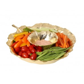 Shop Leaf Chip & Dip Bowl Set in Gold