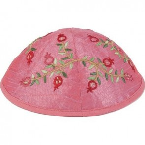 Yair Emanuel Embroidered Kippah with Pomegranates in Pink