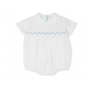 Baby Smocked Romper, White