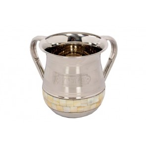 Mother of Pearl Stainless Steel Washing Cup for Netilat Yadayim