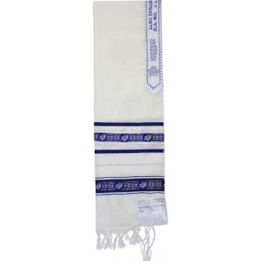 Star of David Wool Tallit, with Silver