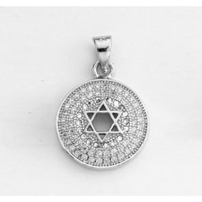 Magen David Circle Pendant, Sterling Silver with Rhinestones