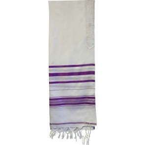 Shop Tallit in Lavender Silver at West Los Angeles Judaica boutique