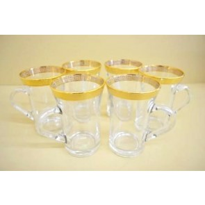 Marigold Houseware Gold Rim Tea Glasses Set of 6-Gold
