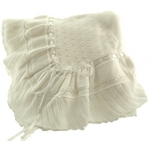 White Knit Baby Receiving Blanket