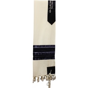 Wool Tallit Set with Navy Blue