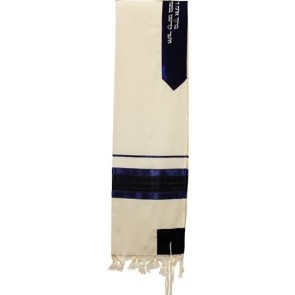 Wool Tallit Set, Navy Blue with Gold