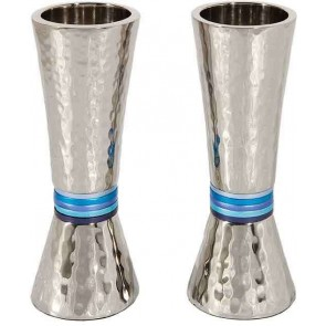 Cone Shaped Hammered Candlesticks, Blue Rings